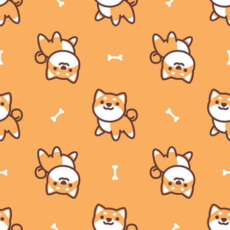 Cute shiba inu dog seamless pattern, vector illustration