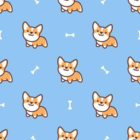 Cute pembroke welsh corgi dog cartoon seamless pattern, vector illustration Stock Illustratie