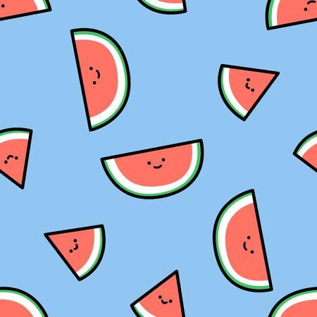 Cute watermelon seamless pattern, vector illustration Stock Illustratie