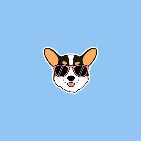 Cute corgi tricolor dog face with sunglasses cartoon, vector illustration
