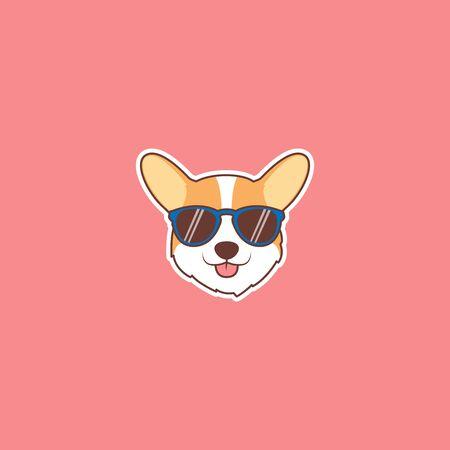 Cute corgi dog face with sunglasses cartoon, vector illustration