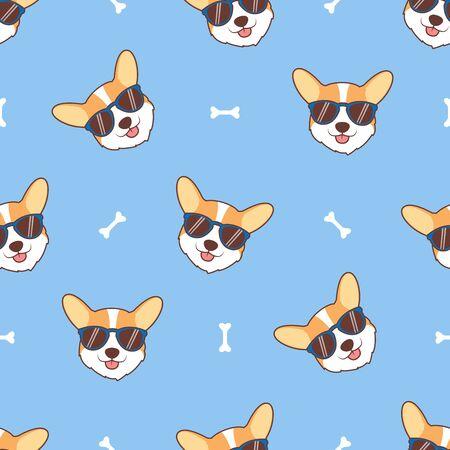 Cute corgi dog face with sunglasses cartoon seamless pattern, vector illustration
