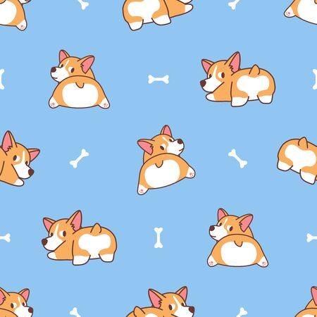 Cute corgi butt, welsh corgi dog looking back seamless pattern, vector illustration