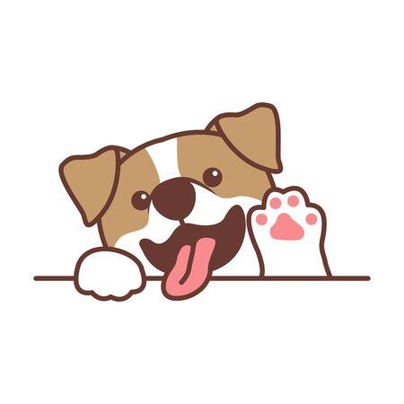 Cute jack russell terrier dog waving paw cartoon, vector illustration Stock Illustratie