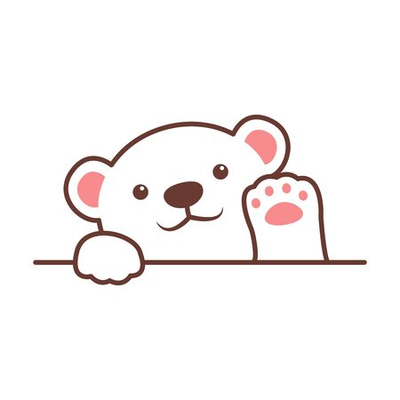Cute polar bear waving paw cartoon, vector illustration