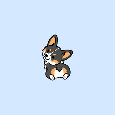 Cute corgi tricolor dog looking back and winking, vector illustration Ilustración de vector
