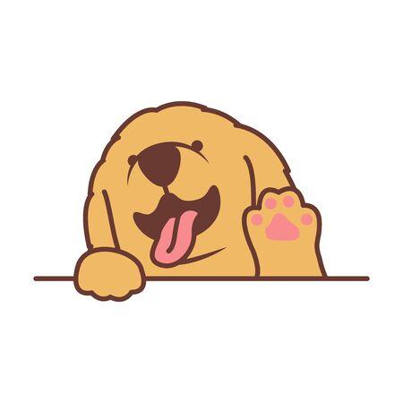 Cute golden retriever puppy waving paw cartoon, vector illustration