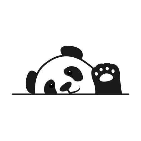Baby panda waving paw cartoon, vector illustration