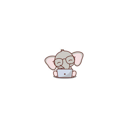 Cute baby elephant with glasses working on a laptop cartoon icon, vector illustration