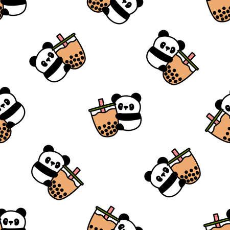 Cute panda loves bubble tea cartoon seamless pattern, vector illustration 矢量图像
