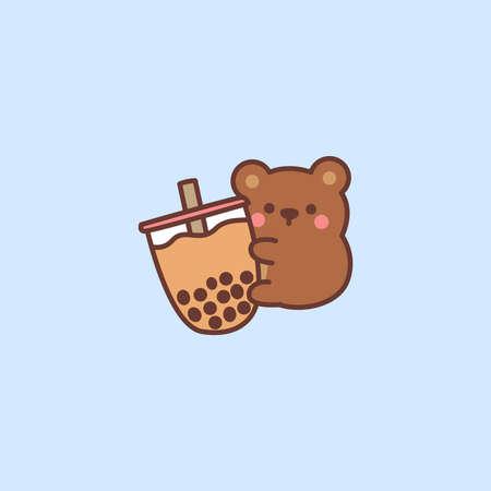 Cute bear loves bubble tea cartoon, vector illustration 矢量图像