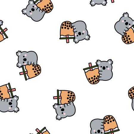 Cute koala loves bubble tea cartoon seamless pattern, vector illustration 矢量图像