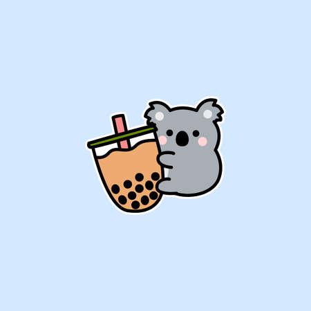 Cute koala loves bubble tea cartoon, vector illustration