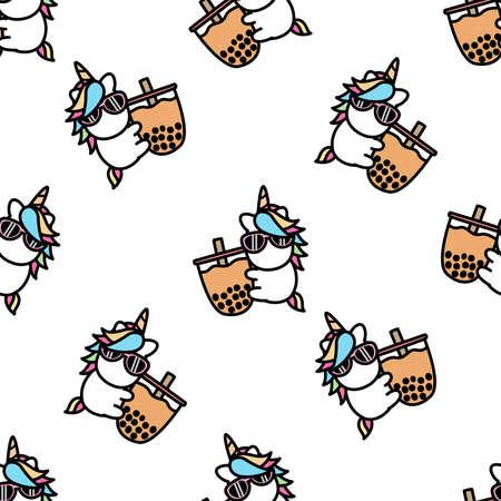 Cute unicorn loves bubble tea cartoon seamless pattern, vector illustration 矢量图像