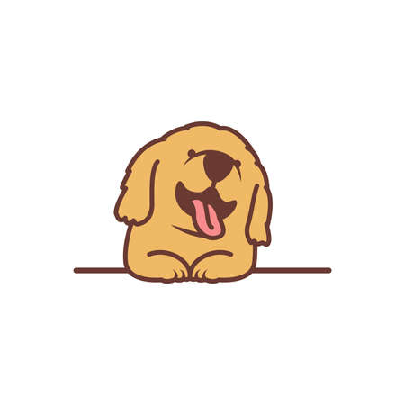Cute golden retriever puppy smiling over wall cartoon, vector illustration