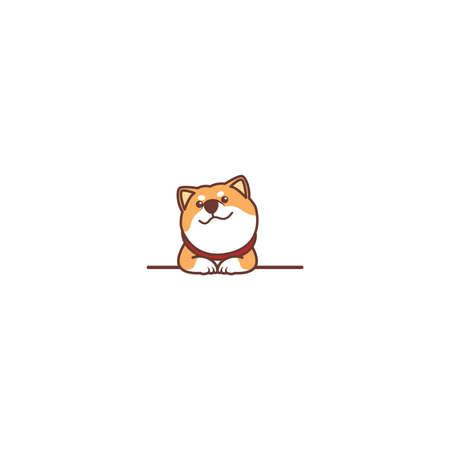 Cute shiba inu dog smiling over wall cartoon, vector illustration