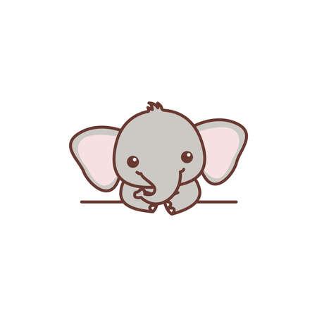 Cute baby elephant over wall cartoon, vector illustration