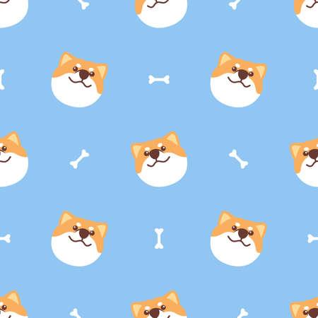 Cute shiba inu dog smiling face seamless pattern, vector illustration 矢量图像