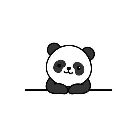 Cute panda over wall cartoon, vector illustration