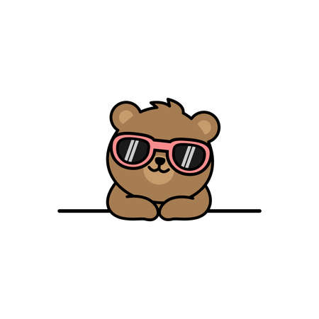 Cute bear with sunglasses cartoon, vector illustration 矢量图像