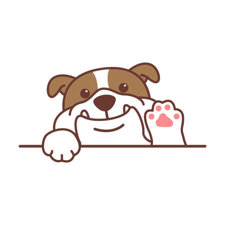 Cute english bulldog waving paw cartoon, vector illustration