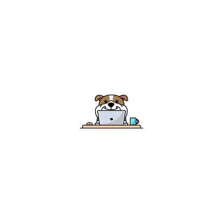 Cute english bulldog working on a laptop, vector illustration 矢量图像