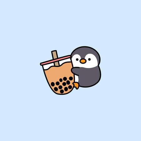 Cute penguin loves bubble tea cartoon, vector illustration 矢量图像