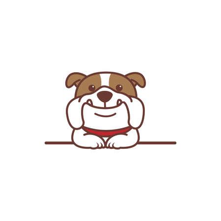 Cute bulldog dog smiling over wall cartoon, vector illustration