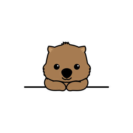 Cute wombat smiling over wall cartoon, vector illustration 向量圖像