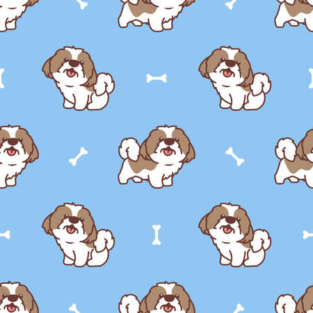 Cute shih tzu dog cartoon seamless pattern, vector illustration