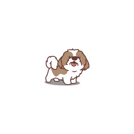 Cute shih tzu dog smiling cartoon icon, vector illustration