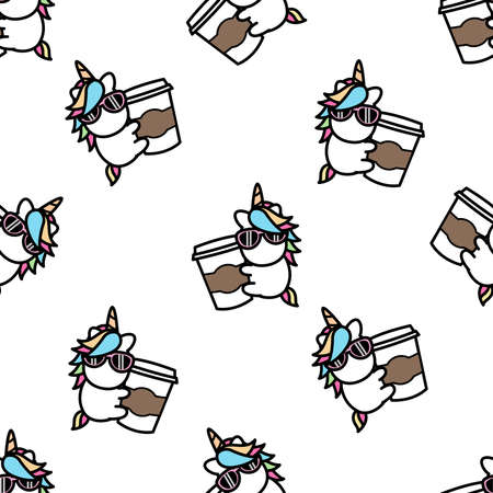 Cute Unicorn loves coffee cartoon seamless pattern, vector illustration