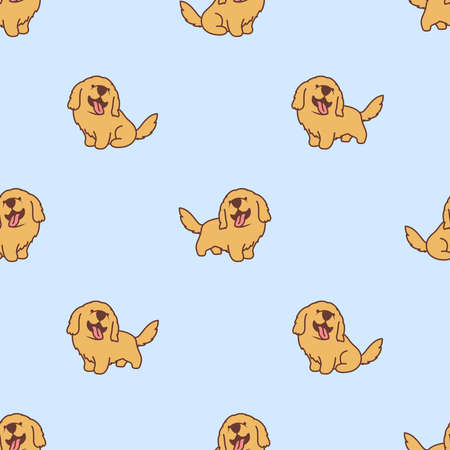 Cute golden retriever puppy cartoon seamless pattern, vector illustration