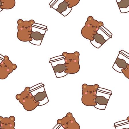Cute bear loves coffee cartoon seamless pattern, vector illustration