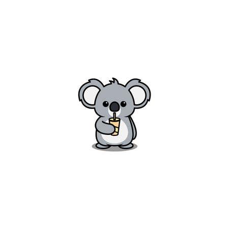 Cute koala drinking water cartoon, vector illustration