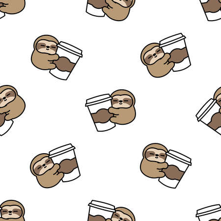 Cute sloth loves coffee cartoon seamless pattern, vector illustration 矢量图像
