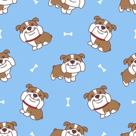 Cute english bulldog cartoon seamless pattern, vector illustration