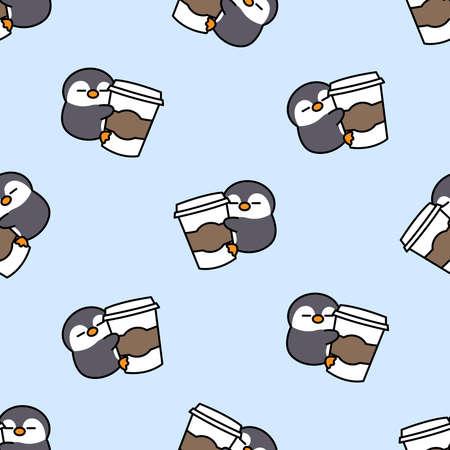 Cute penguin loves coffee cartoon seamless pattern, vector illustration