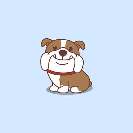 Cute english bulldog sitting cartoon icon, vector illustration