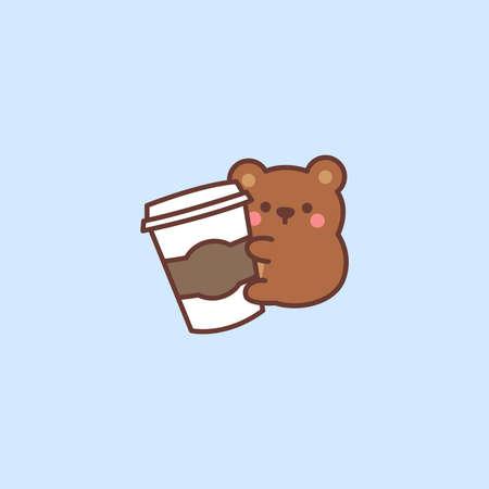 Cute bear loves coffee cartoon, vector illustration