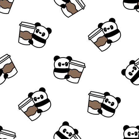 Cute panda loves coffee cartoon seamless pattern, vector illustration