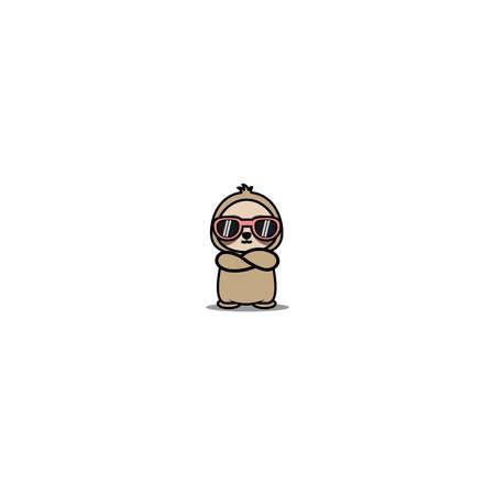 Cute sloth with sunglasses crossing arms cartoon, vector illustration 矢量图像
