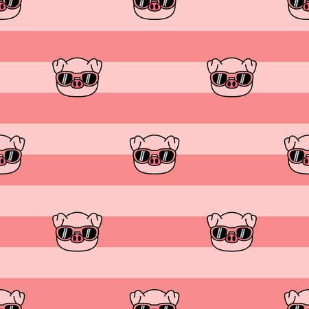 Cute pig with sunglasses cartoon seamless pattern, vector illustration