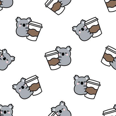Cute koala loves coffee cartoon, vector illustration 矢量图像