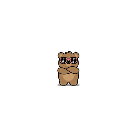 Cute bear with sunglasses crossing arms cartoon, vector illustration 矢量图像