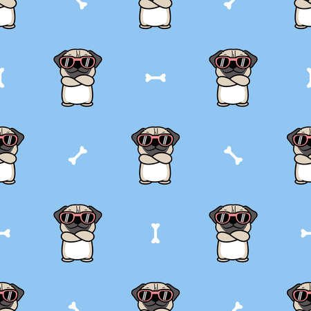 Cute pug dog with sunglasses crossing arms cartoon seamless pattern, vector illustration
