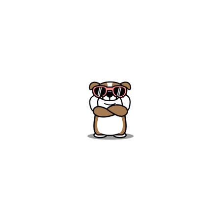 Cute english bulldog with sunglasses crossing arms cartoon, vector illustration