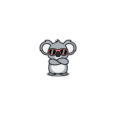 Cute koala with sunglasses crossing arms cartoon, vector illustration