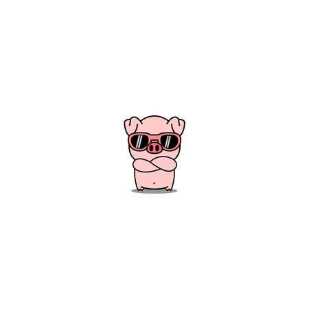 Cute pig with sunglasses crossing arms cartoon, vector illustration
