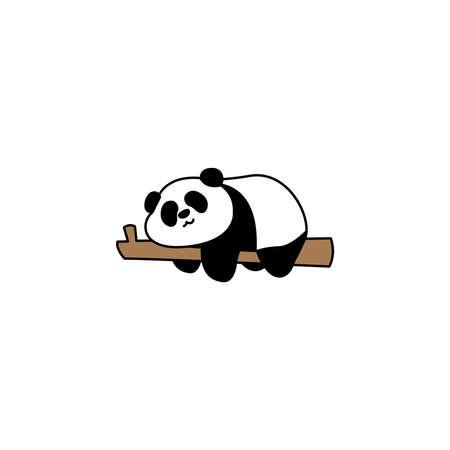 Lazy panda sleeping on a branch cartoon, vector illustration 矢量图像
